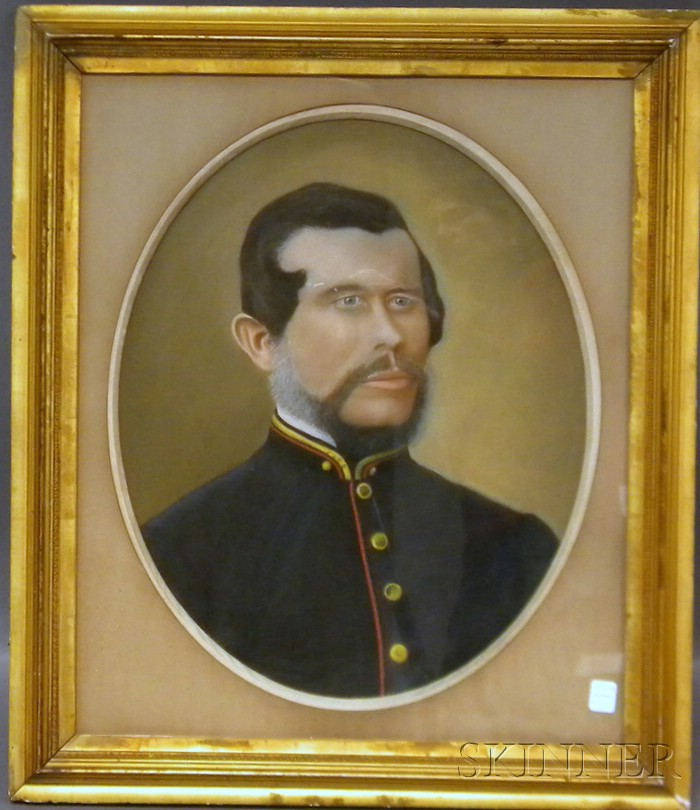 19th Century American School Pastel Portrait of a Uniformed Gentleman