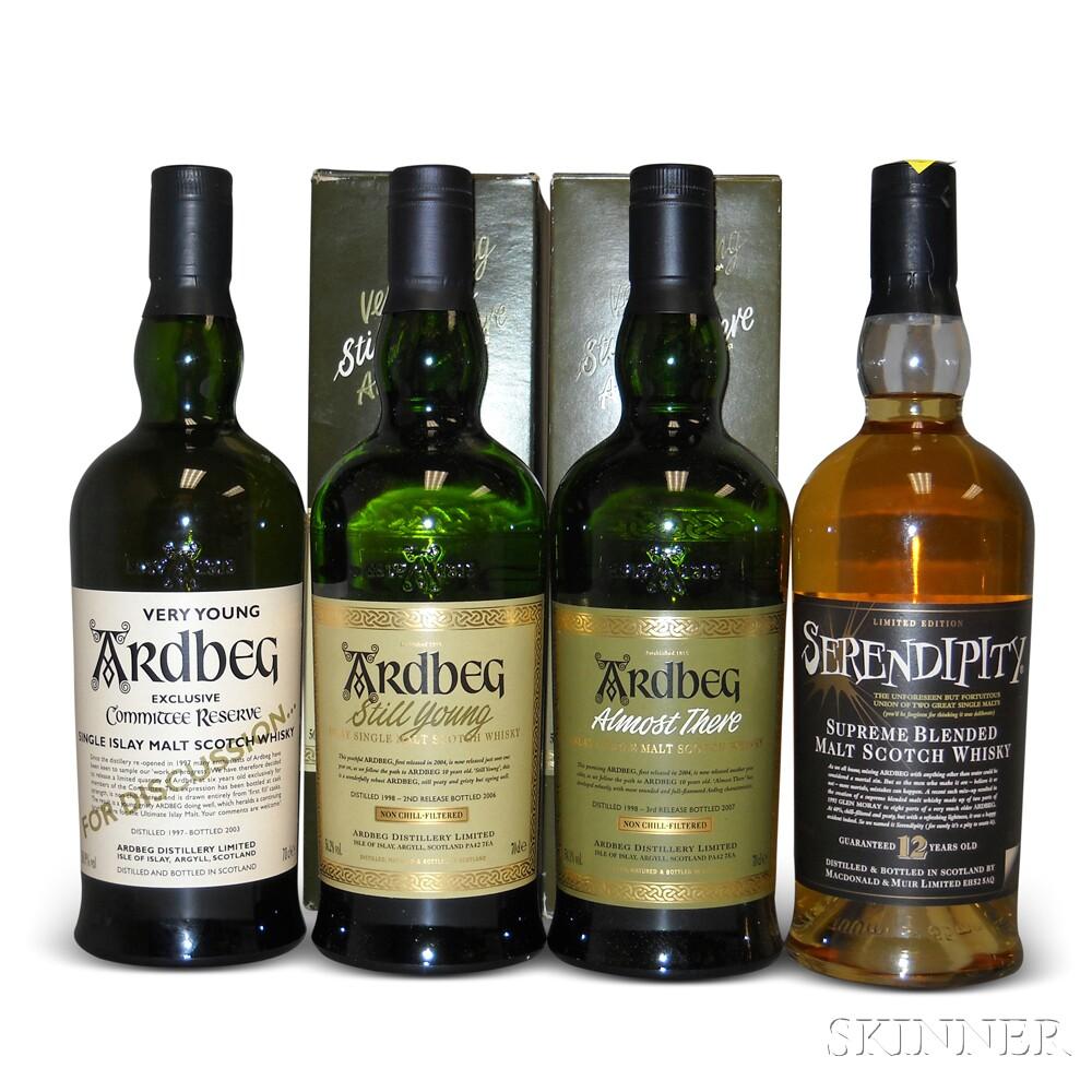 Mixed Ardbeg, 4 700ml bottles