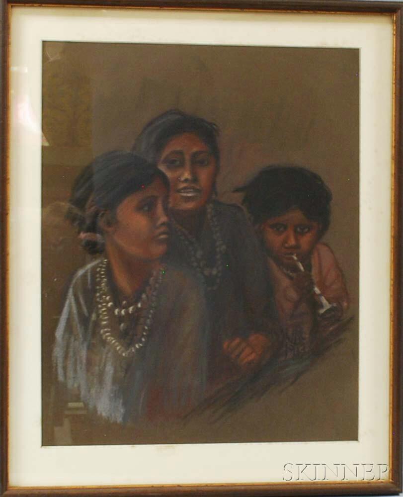 Framed Pastel Portrait of Three Native American Girls