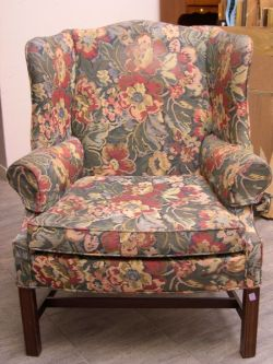 Chippendale-style Mahogany and Upholstered Wing Chair.