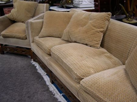 Contemporary Chinese-style Upholstered Sofa and Chair.