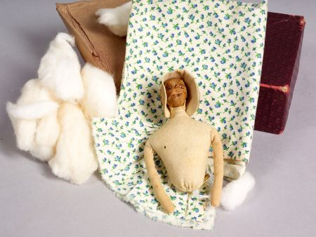 Incomplete Hickory Nut-head and Cloth Doll