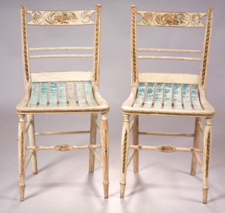 Pair of Paint Decorated Side Chairs