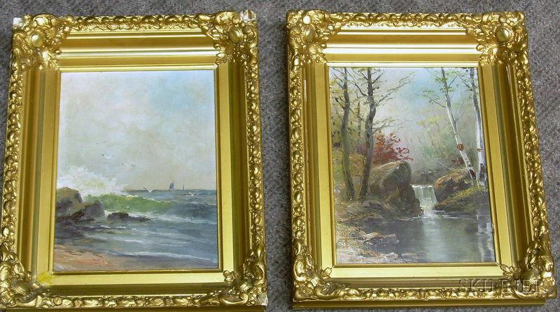 Lot of Two Framed Oil on Canvas Views of Marblehead, Massachusetts, and Maine