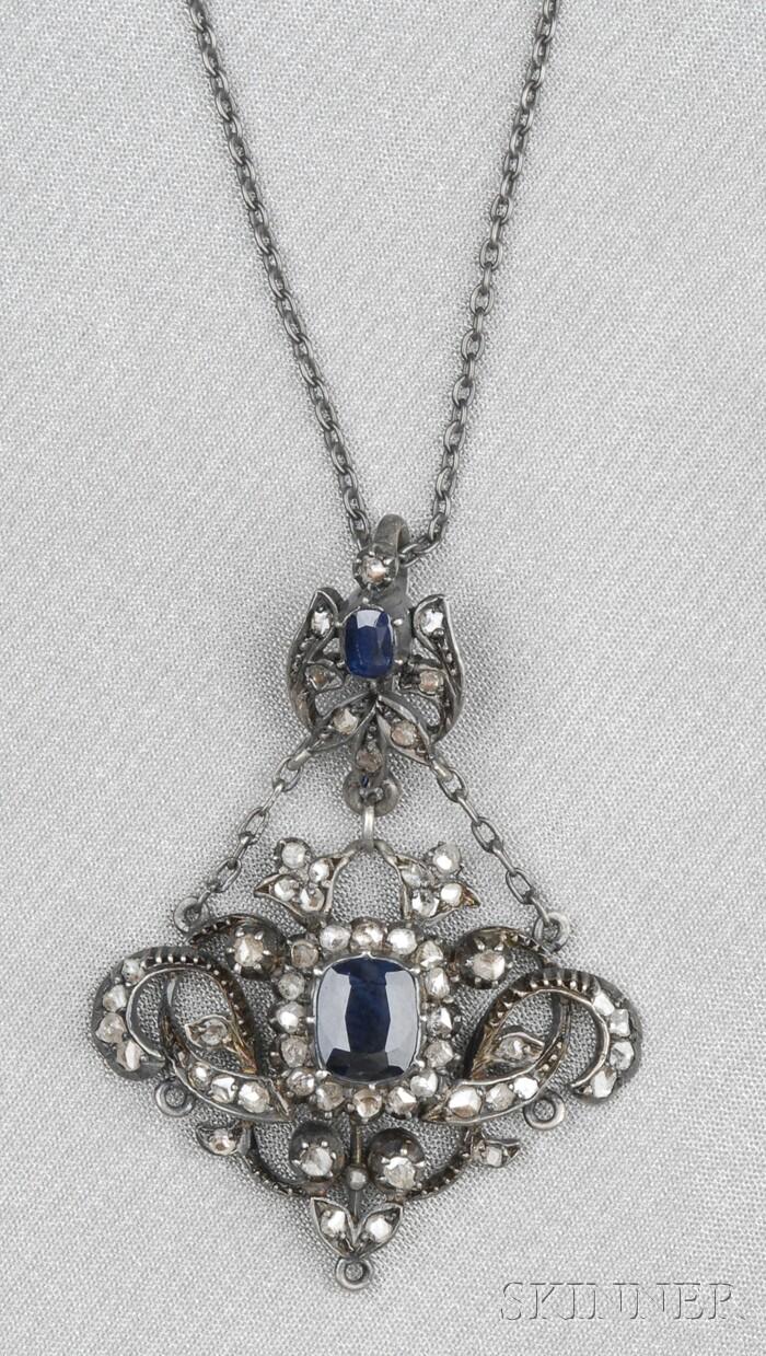 Antique Silver, Sapphire, and Rose-cut Diamond Pendant