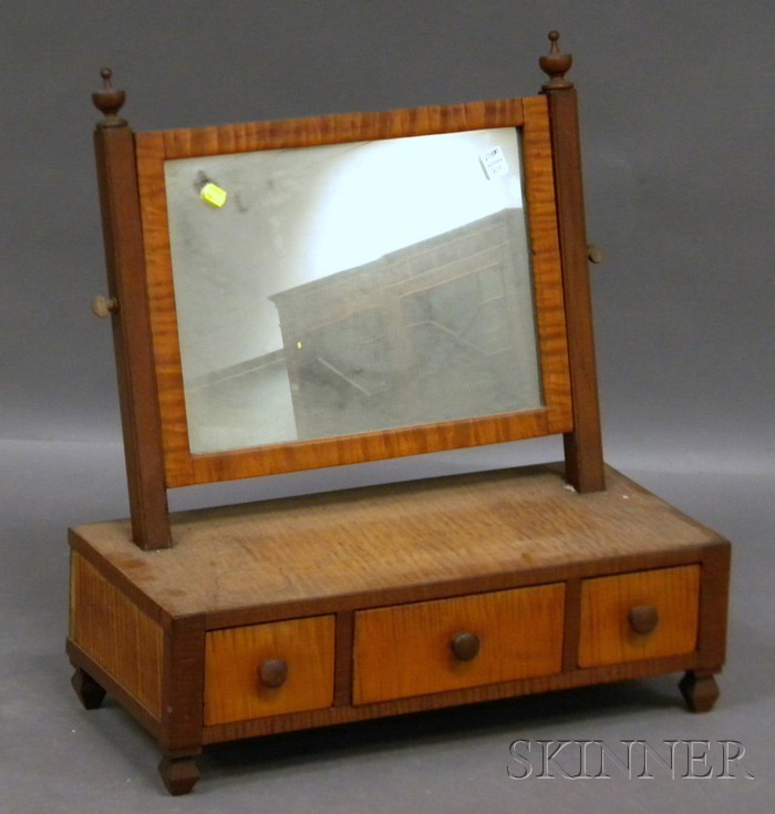 Country Tiger Maple and Mahogany Dressing Mirror on Cabinet