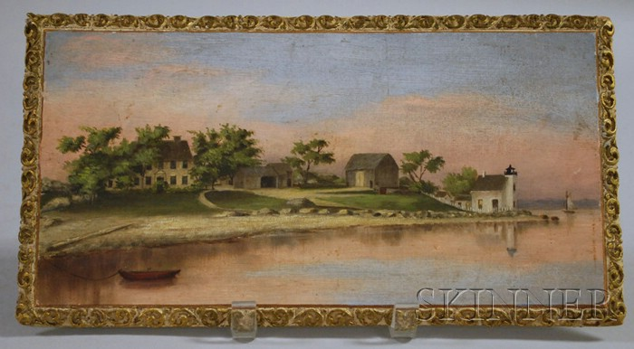 20th Century American School Oil on Panel View of the William Pierce Home and   Lighthouse, Bristol, Rhode Island