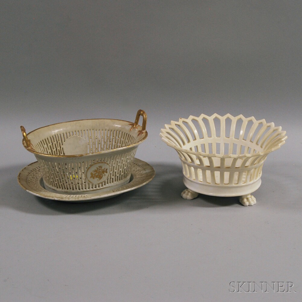 Two Reticulated Porcelain Baskets