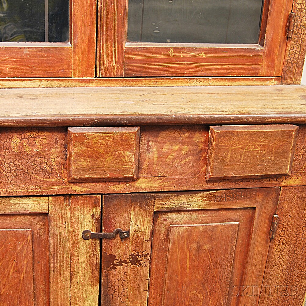 Red-painted Country Glazed Cupboard