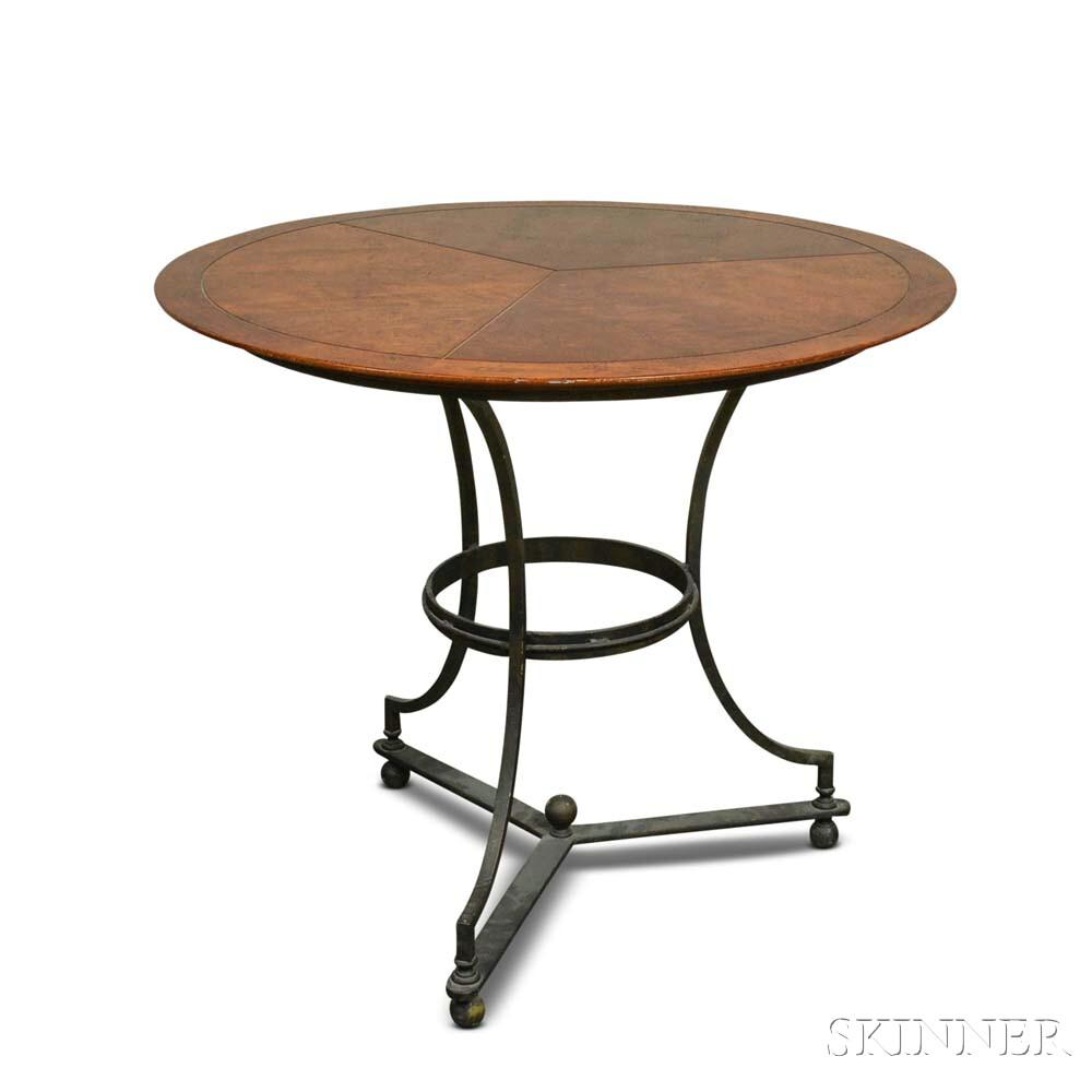 Hardwood Center Table with Wrought Iron Base