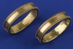 Pair of Antique 14kt Gold Bangle Bracelets