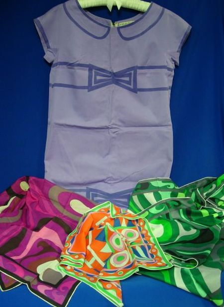 Three Emilio Pucci Cotton Scarves and a Purple Cotton Emilio Pucci Dress