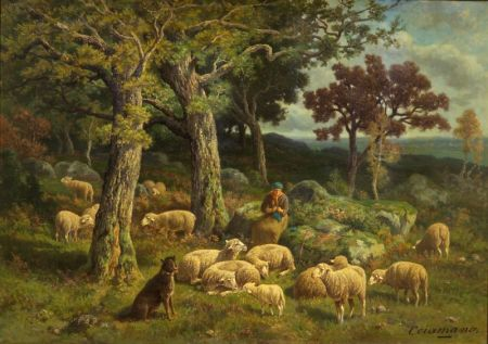 Charles Ferdinand Ceramano (Belgian, 1829-1909)    Passing the Afternoon Away/Genre Scene with a Shepherdess and Her Flock