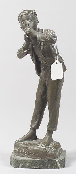 Karl Hackstock (German, 1855-1919)   Bronze Figure of a Boy Smoking/ A Spurt
