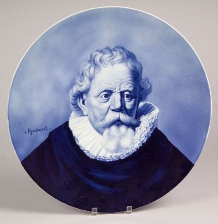 Villeroy & Boch Hand-painted Blue and White Portrait Plaque