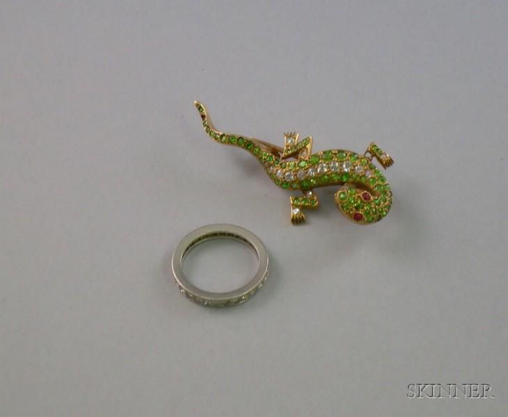 14kt Gold, Diamond, and Demantoid Garnet Lizard Brooch and a Platinum Eternity   Band