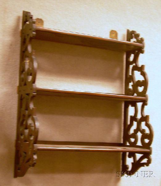 Victorian Walnut Three-tier Fretwork Wall Shelf.