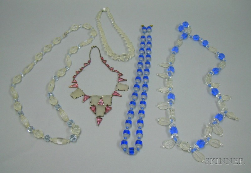 Four Carved and Faceted Glass or Crystal Bead Necklaces and a Sterling Silver and