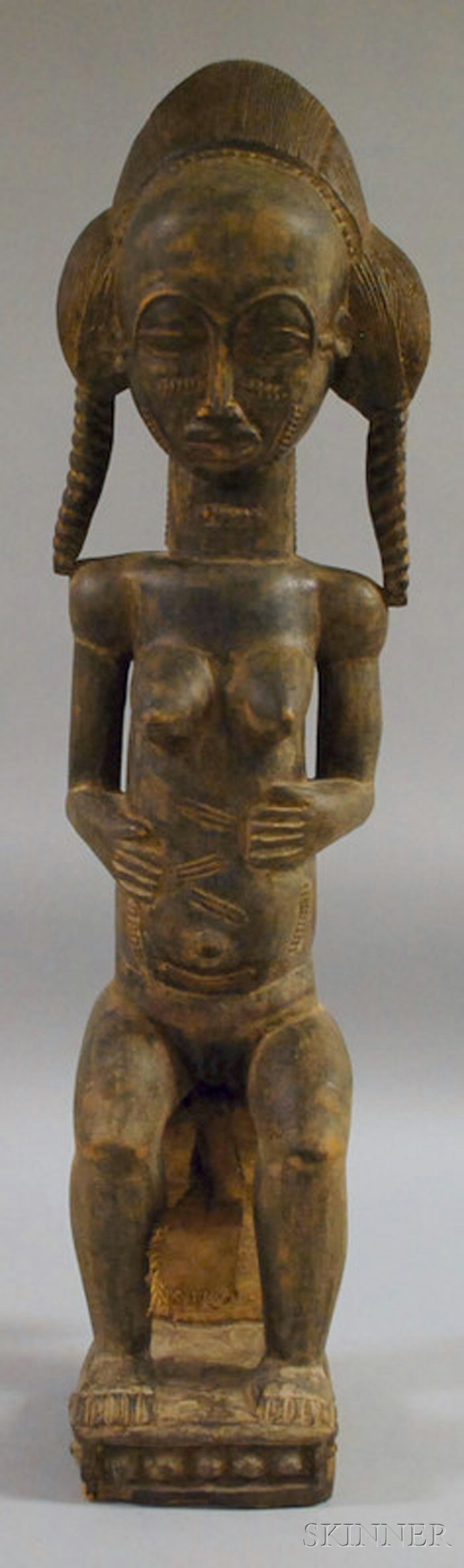 African Bauli-style Carved Wood Figure