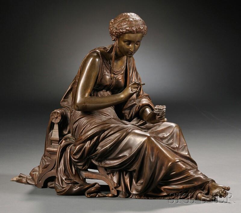 Bronze Figure of a Classical Maiden Plucking Petals From a Flower