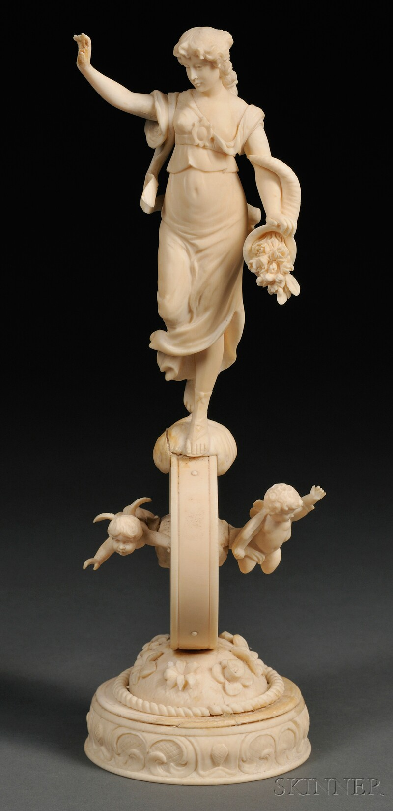 Carved Ivory Figure of Fortune on Her Wheel