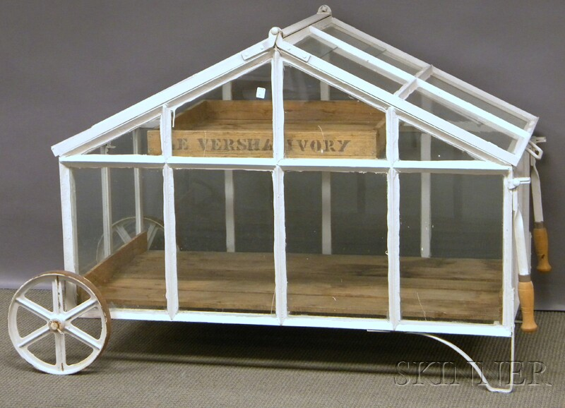 White-painted Glazed Iron Rolling Greenhouse