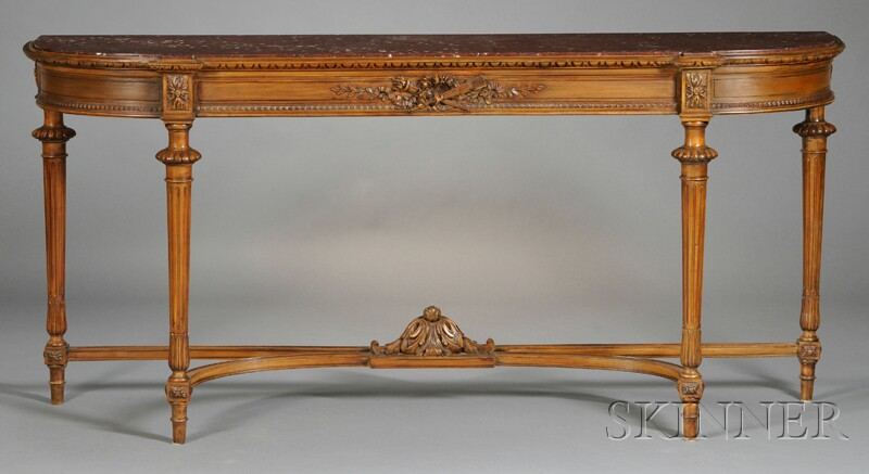 Louis XVI-style Marble-top Fruitwood Console Table
