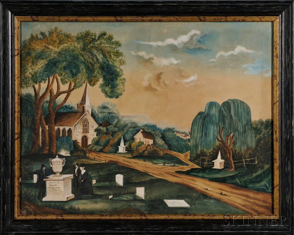 """American School, 19th Century      Pictorial Memorial Picture: """"Sacred to the Memory of Catherine Myers."""""""