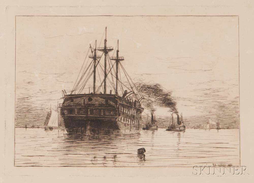 Rominer Lovewell (American, 1853-1932)      Sailing Ship under Tow.
