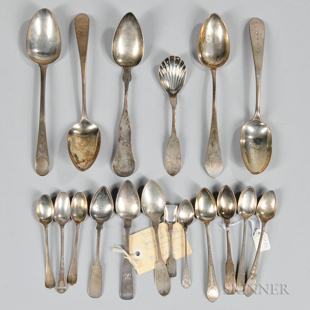 Eighteen American Coin Silver Spoons