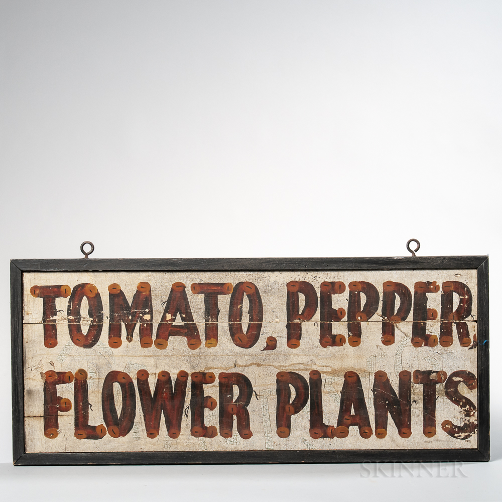 """Paint-decorated Double-sided """"Tomato, Pepper,/Flower Plants"""" Farm Sign"""