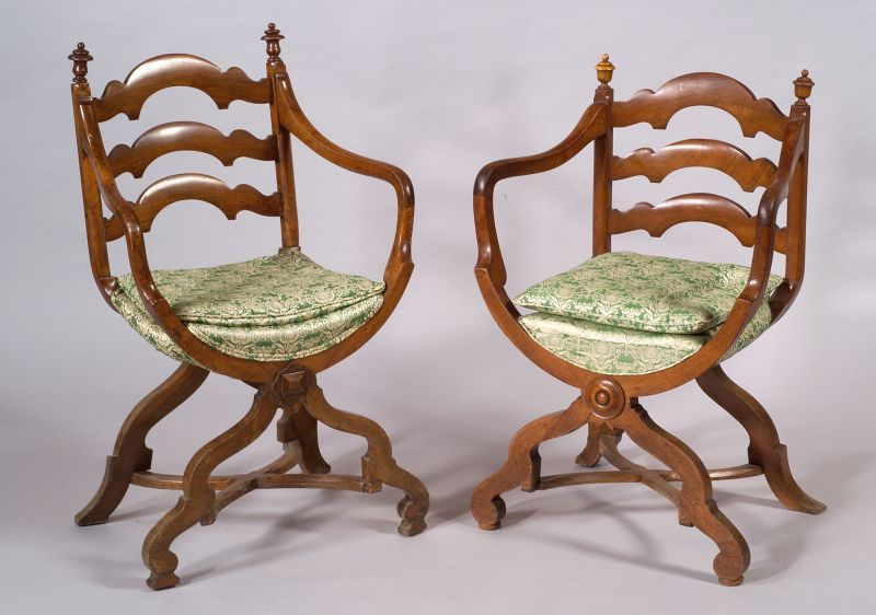 Harlequin Set of Four French Walnut Ladder-back Armchairs