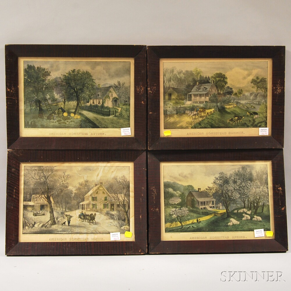 Currier & Ives, publishers (American, 1857-1907)      Four Prints: American Homestead Spring ,  Summer ,  Autumn