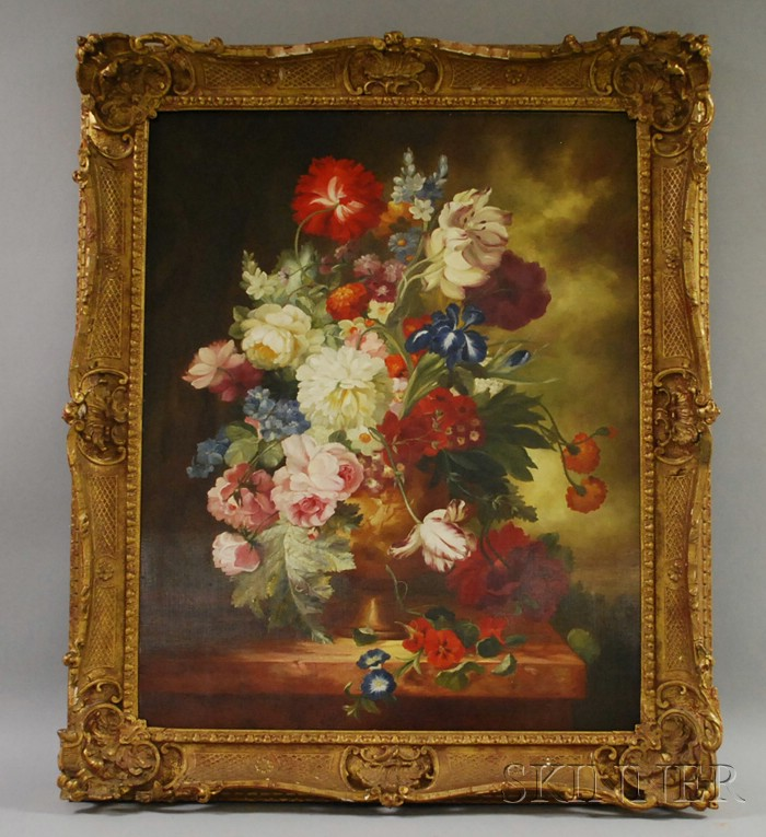 Dutch School, 19th/20th Century      Floral Still Life on a Marble Ledge