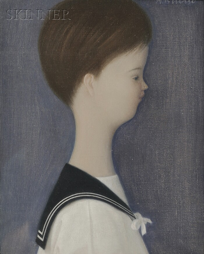Antonio Bueno (Italian, 1918-1984)      Lot of Two Works: Pendant Portraits of a Young Boy and Young Girl