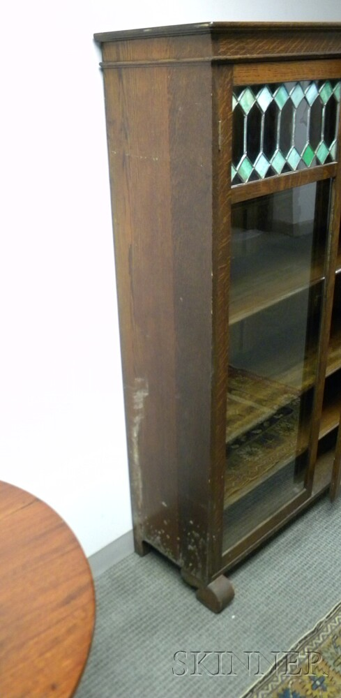 Two-door Oak and Leaded Glass Four-stack Bookcase