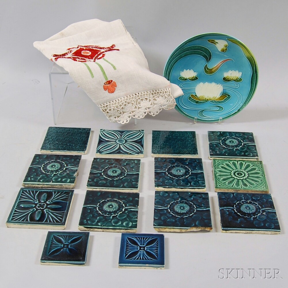 Fourteen Teal-glazed J. & J.G. Low Arts & Crafts Tiles, a Tablecloth, and a Plate
