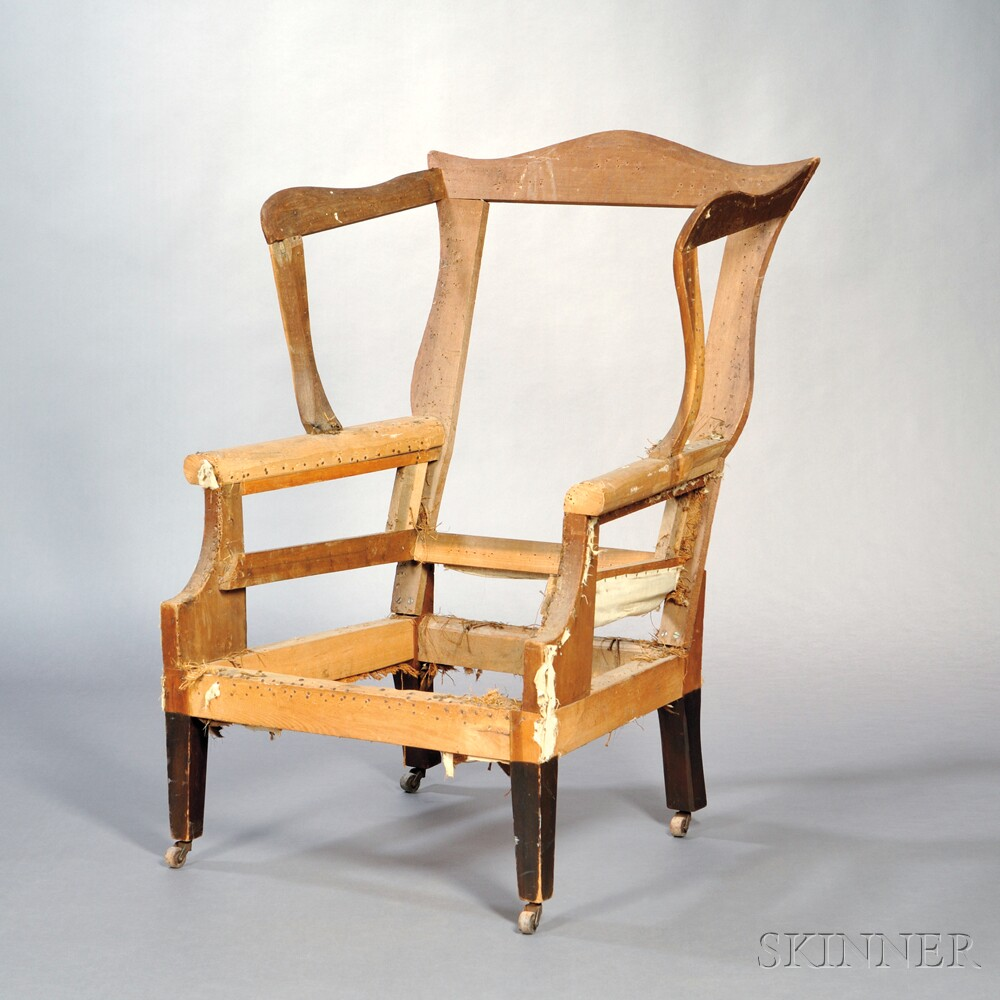 Federal Stained Cherry and Pine Wing Chair Frame