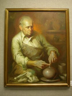 Framed Oil Interior Scene with a Potter