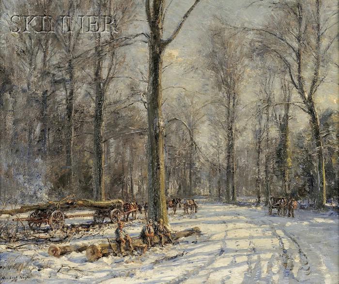 Herbert Royle  (British, 1870-1958)      Winter Scene with Loggers at Rest
