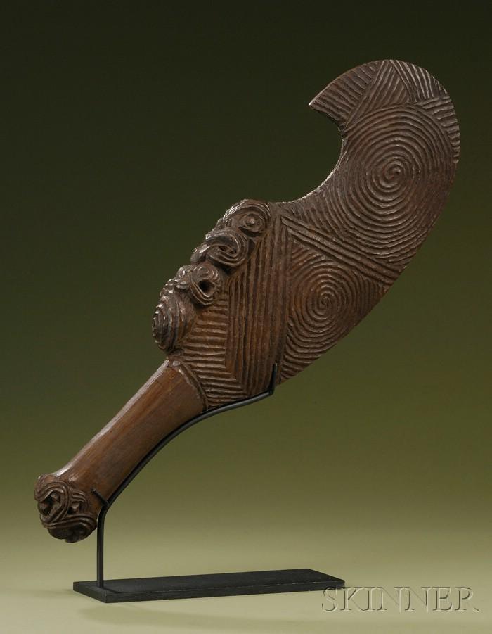 Maori Carved Wood Billhook Hand Club