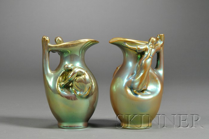 Two Zsolnay Figural Pitchers