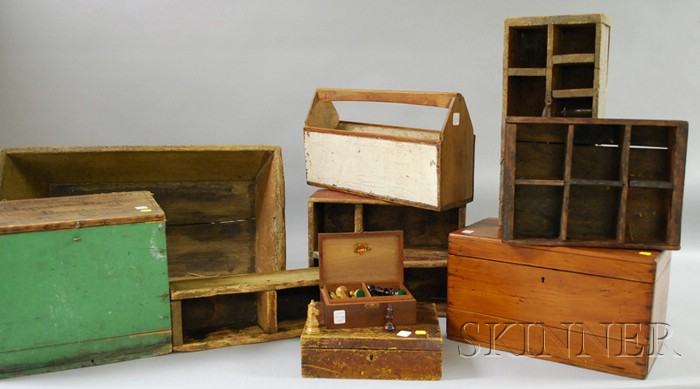Ten Assorted Wooden Boxes and Carriers