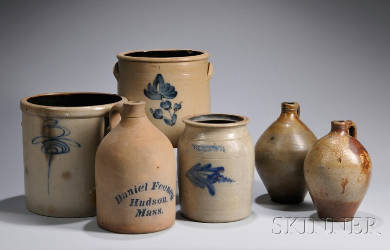 Cobalt-decorated Stoneware Jug and Two Crocks and a Jar