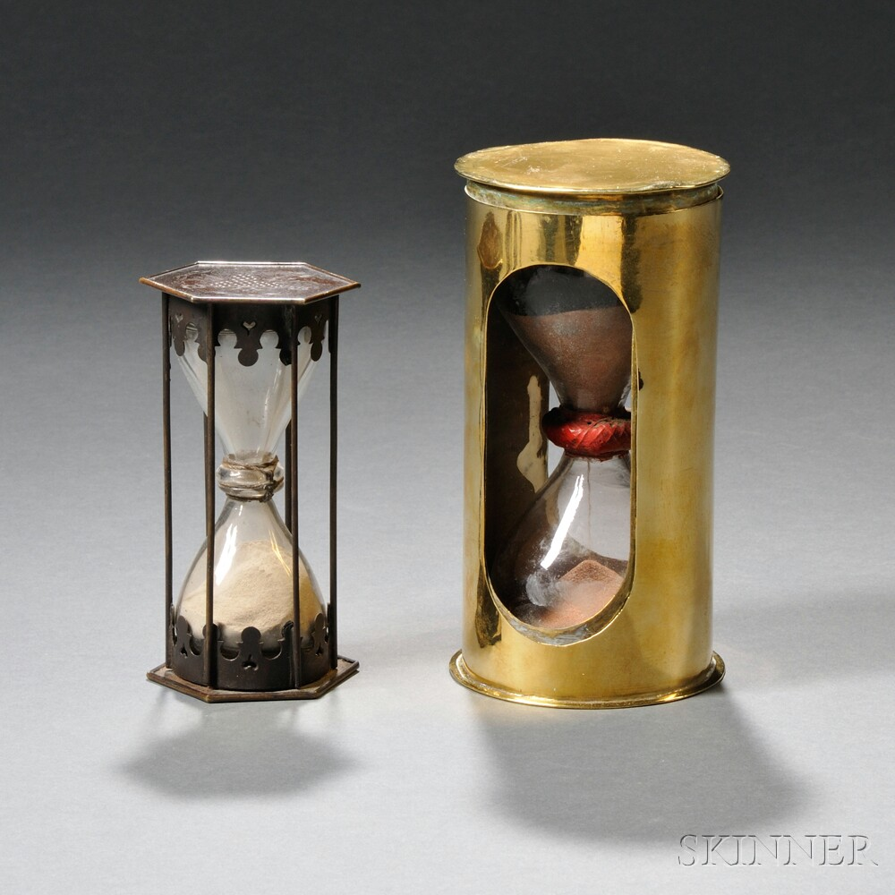 Two Early Bronze and Brass Hourglasses
