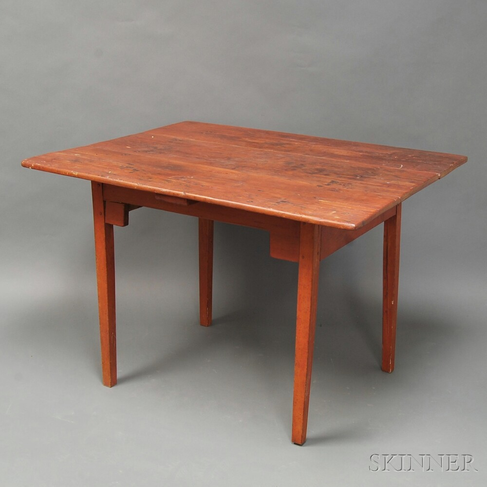 Red-painted Pine Tavern Table