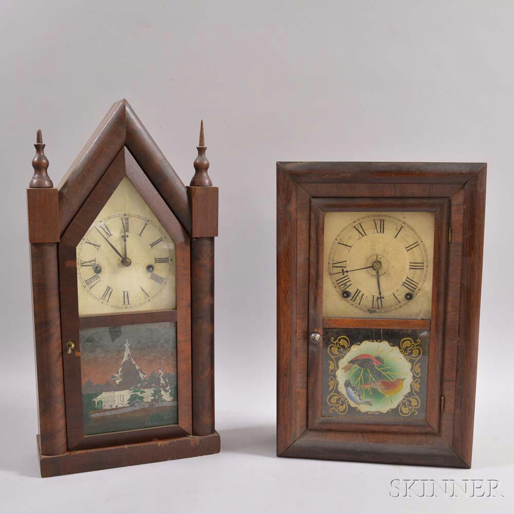 Two Mahogany Connecticut Shelf Clocks