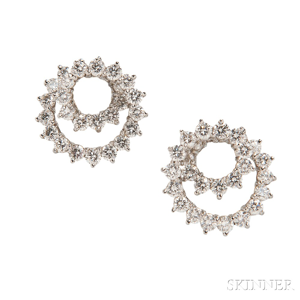 Platinum and Diamond Spiral Earrings, Tiffany & Co.