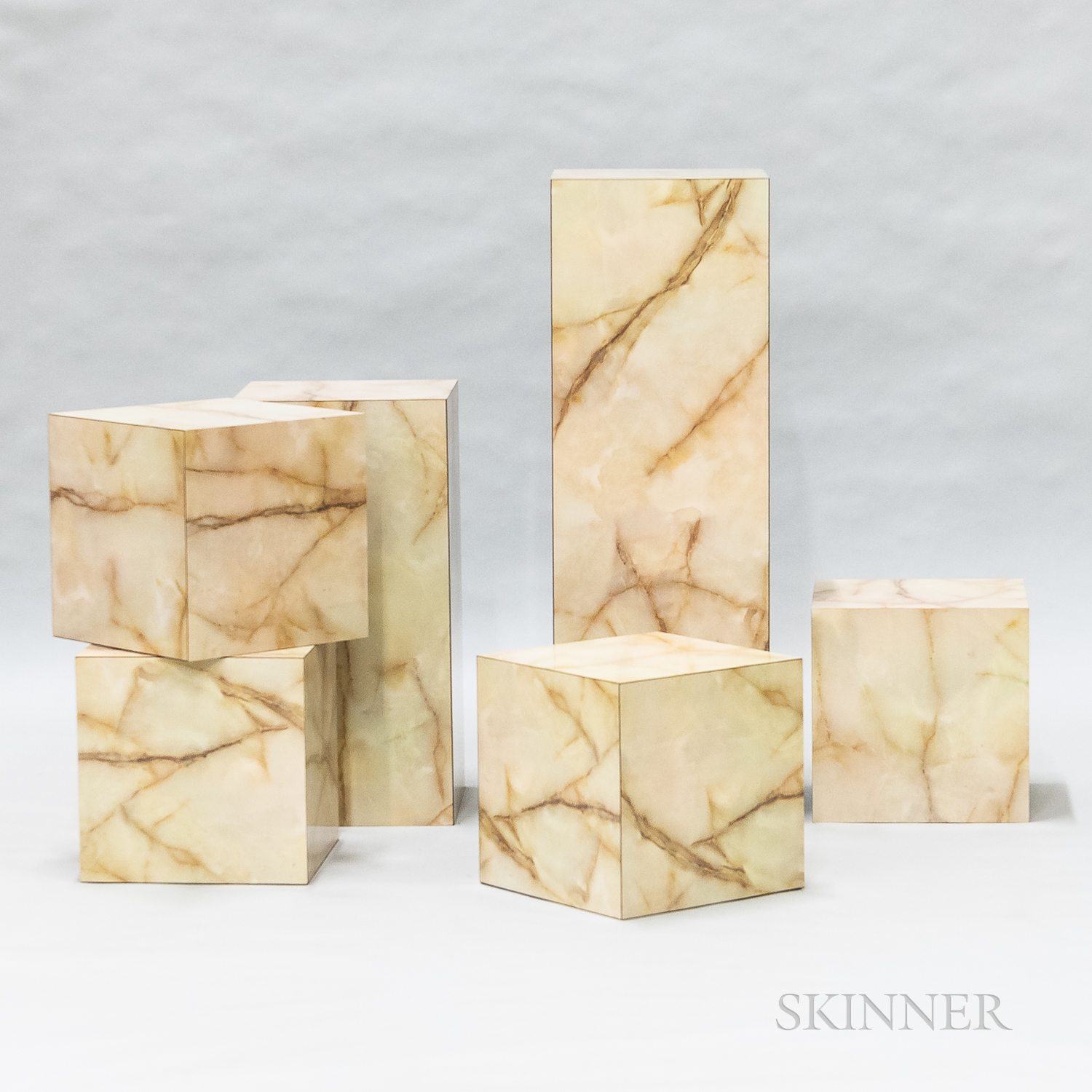Six Marble-laminated Plinths