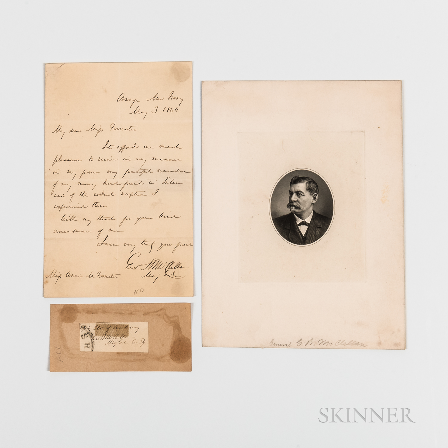 McClellan, George B. (1826-1885) Autograph Letter Signed, Clipped Signature and Engraved Portrait.